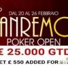 Torna il Sanremo Poker Open con 25.000€ garantiti e un ticket added per il PartyPoker Millions