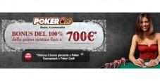 Poker Club: 100% di bonus sul primo versamento