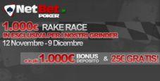 Rake Race da 1.000€ su NetBet Poker!