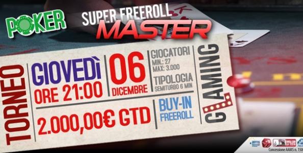 STASERA su Glaming Poker c'è il Super Freeroll Master da 2.000 €!