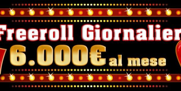 Freeroll giornalieri su Eurobet, in palio 6.000€ al mese!
