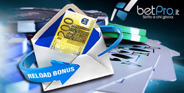 Bonus reload del 20% fino a 200€ su BetPro!