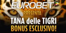 Eurobet regala 6€ senza deposito e una Rake Race esclusiva con tanti ticket per il Tana delle Tigri!