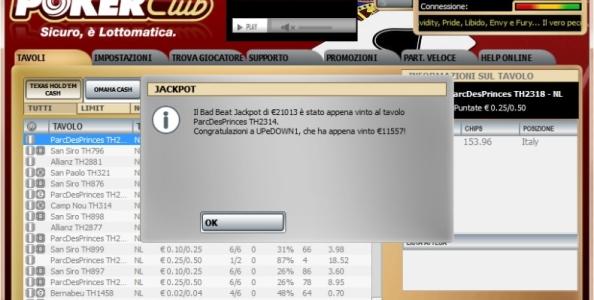 Pazzesco su Poker Club: UPeDOWN1 centra nuovamente il Bad Beat Jackpot!