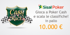 Cash Race su Sisal Poker: 10.000€ in palio!