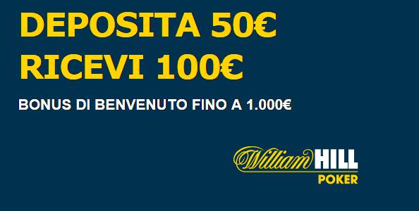 Su William Hill bonus benvenuto del 200% fino a 1000 euro!