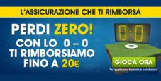 Scommetti sul sicuro con William Hill: se la partita finisce a reti inviolate ricevi un bonus fino a 20€