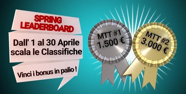 Spring Leaderboard: classifica MTT di Poker Club