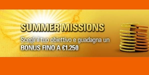Le Summer Missions di PokerStars.it: scegli il tuo obiettivo e vinci fino a 1250€!
