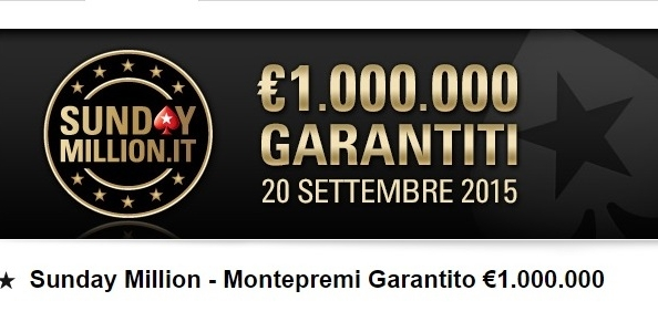 Su PokerStars.it arrivano i satelliti Road to Sunday Million: 100 posti GTD per il 20 settembre 2015!