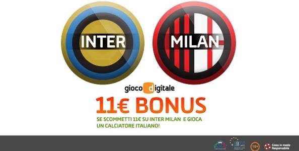 Scommetti sul derby di San Siro con Gioco Digitale: se un italiano entra in campo per te un bonus di 11€!