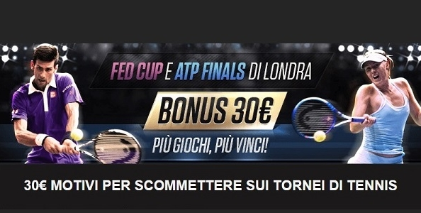 Su NetBet Sport scommetti sulla Fed Cup e gli ATP Finals di Londra: per te un bonus fino a 30€!