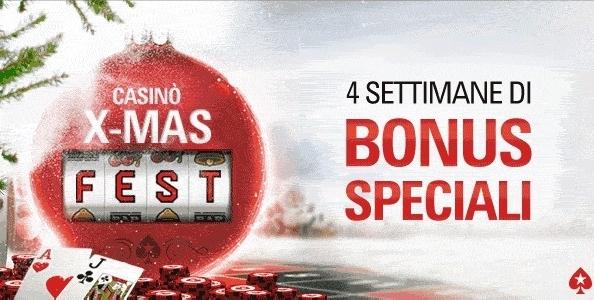Su PokerStars.it arriva la Casinò X-Mas Fest: 4 settimane di bonus speciali e a gennaio un torneo da 10.000€ GTD!