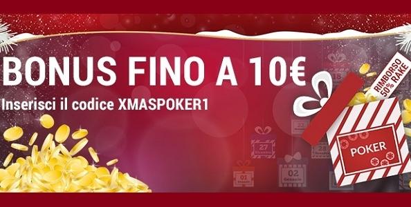Lottomatica.it Poker lancia la Xmas Poker1: gioca e vinci un bonus del 50% in rake fino a 10€!