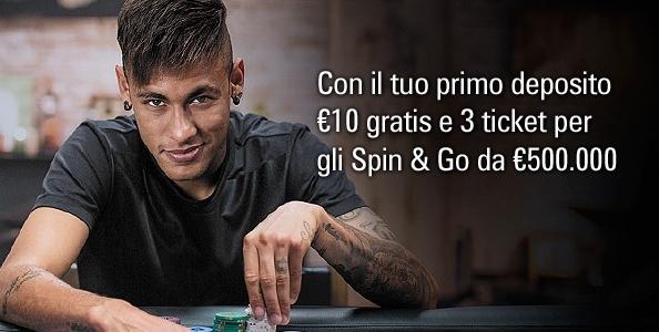 Su PokerStars.it arriva il bonus primo deposito Neymar Jr: 10€ gratuiti e 3 ticket per gli Spin & Go da 500.000€!