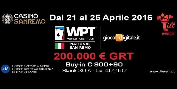 Il WPT National torna a Sanremo! Appuntamento dal 21 al 25 aprile per 200.000€ garantiti