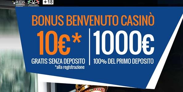 10€ IN REGALO senza bisogno di depositare per i nuovi iscritti al Casinò Snai!
