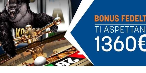 Snai Casinò: ogni mese fino a 1360€ di bonus fedeltà !