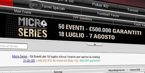 Tornano le Micro Series di PokerStars! 50 eventi per un montepremi garantito totale di €500.000
