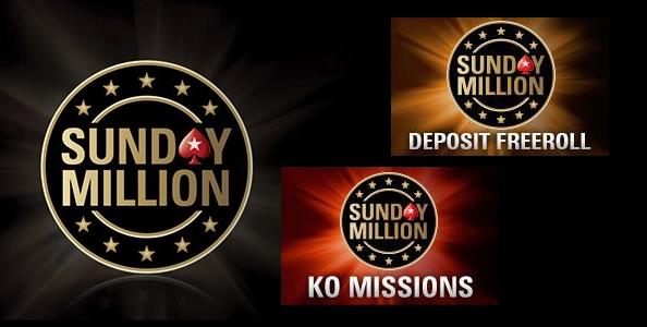 Gioca GRATIS il Sunday Million con i Deposit Freeroll e le KO Missions di PokerStars!