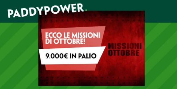 Missioni di ottobre su Paddy Power: in palio oltre 9.000€ in token e bonus!