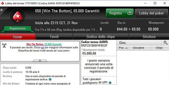 MTT Win The Button su PokerStars.it: stasera il primo torneo con la nuova formula