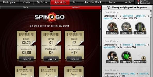 Domenica da sogno per 'BabbuWiid' che incassa 500.000€ grazie a uno Spin & Go di PokerStars!