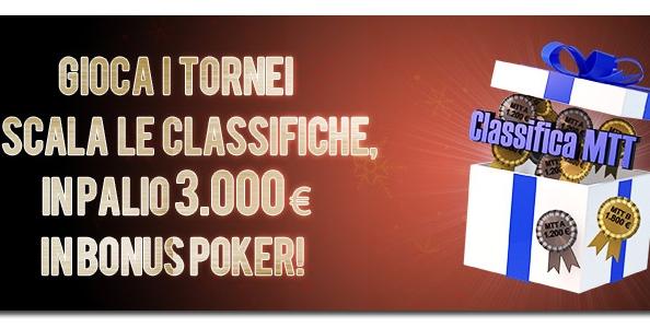 Xmas Mtt Leaderboards: su Lottomatica.it 3.000€ in palio!