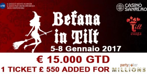 BEFANA IN TILT! Al casinò di Sanremo 15.000€ garantiti a soli 120€ di buy-in
