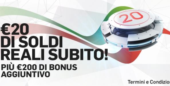 20€ IN REGALO e fino a 200€ bonus: che benvenuto per i nuovi iscritti al Casinò di Betfair!!!