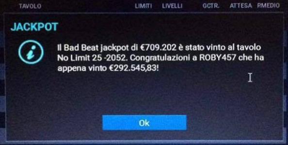 Bad Beat Jackpot da record su Lottomatica: con poker di Jack perde il pot e vince 292.000€!