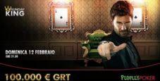 Domenica 12 febbraio arriva il Sunday King XXL: 100.000€ garantiti e 10.000€ in regalo su People's Poker!