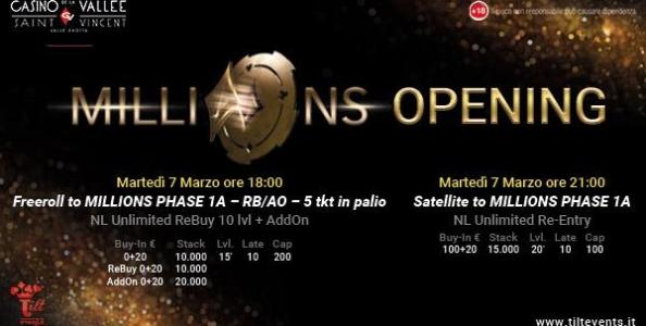 PartyPoker Millions – La fase italiana si apre con degli imperdibili satelliti il 7 e 8 marzo a Saint-Vincent