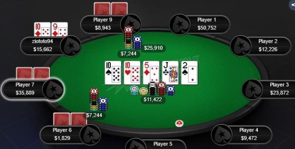 Punti di vista MTT – Trips di dieci in 4-way su bet-call river