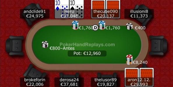 Punti di vista mtt: Coppia di Dieci su squeeze lungo di big stack 8 left al Win The Button