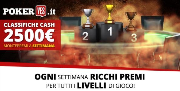 Nuove classifiche cash game su PokerYes: ogni settimana 2.500€ in palio!