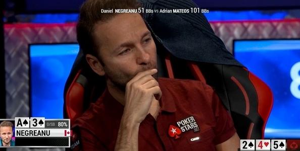 Che figuraccia per Negreanu al WSOP 10K heads-up: 'call to split' al river, ma Adrian Mateos gira il nuts!