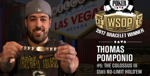 WSOP – Thomas Pomponio milionario grazie al Colossus! Secondo braccialetto per Mosseri e Bach