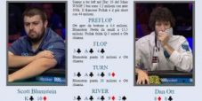 Main WSOP review – Blumstein aggredisce Ott a tre left facendogli foldare 8-8 con un push al river