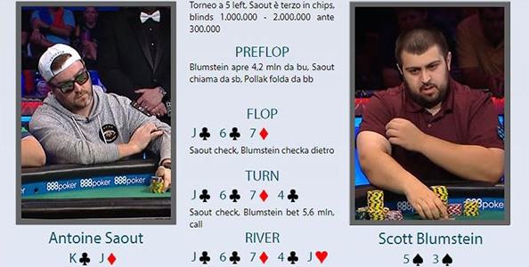 Main WSOP review: Saout chiama con trips il push di Blumstein ed esce in quinta posizione