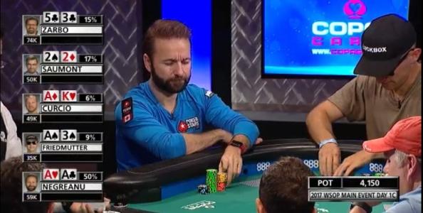 Negreanu mattatore al Day1C del Main Event WSOP: tre mani (e un fold discusso) del canadese