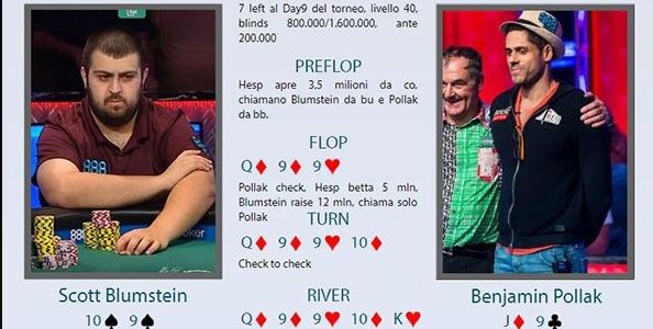 Main WSOP review: Pollak folda scala sulla bet river di Blumstein!