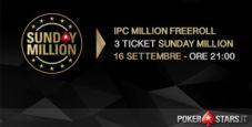 Gioca GRATIS il Sunday Million: TRE TICKET in palio nel nostro Freeroll esclusivo!