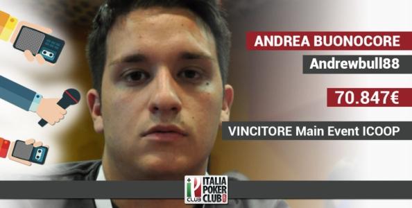 """Andrea Buonocore sul trionfo nel Main ICOOP: """"Sono felicissimo, è stata un'impresa"""""""