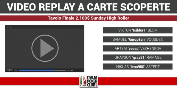 Video-replay a carte scoperte: la vittoria di Viktor 'Isildur1' Blom al 2.100$ Sunday High Roller di PokerStars.com