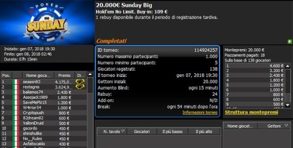 Report MTT domenicali – 'Pretto' guida il Sunday KING! Un deal mette fine al Sunday Big di 888poker