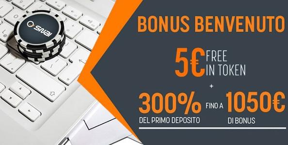 Inizia a giocare su Snai Poker: per i nuovi iscritti un bonus-benvenuto del 300% fino a 1.050€ e 5€ bonus!