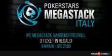 Vuoi giocare GRATIS il PokerStars Megastack Sanremo? Partecipa al nostro Freeroll esclusivo: tre ticket in palio!