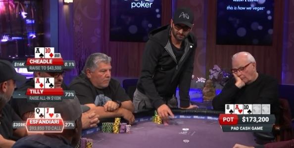 Poker After Dark – Esfandiari senza paura! Scoppia gli assi con scala al river e incassa 283.250$