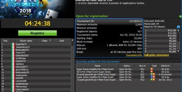 Tutti i satelliti 888poker per qualificarsi last-minute al Main Event Super Series da 100.000€ garantiti!